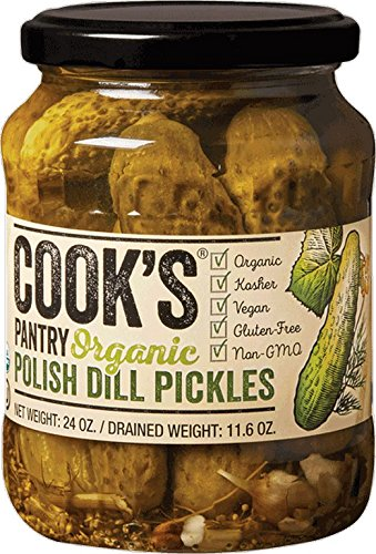 Pickled Pantry Pickles (COOK'S PANTRY, PICKLES, OG2, POLISH DILL, Pack of 6, Size 24 OZ - No Artificial Ingredients Gluten Free Kosher Vegan Wheat Free Yeast Free 95%+ Organic)
