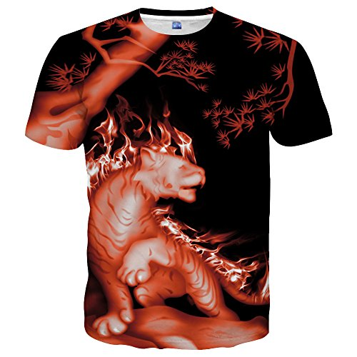 Neemanndy Unisex Fire Animal Print Graphic Tee with Short Sleeve and Round Neck t Shirts for Men and Women, X-Large
