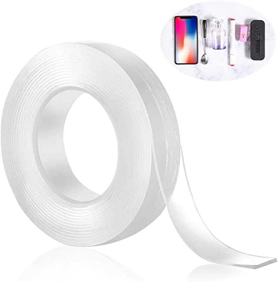 redcolourful Multifunction Home Transparent Washable Double Sided Adhesive Tape Thick 2mmwidth 3cmlength 1m Household Item