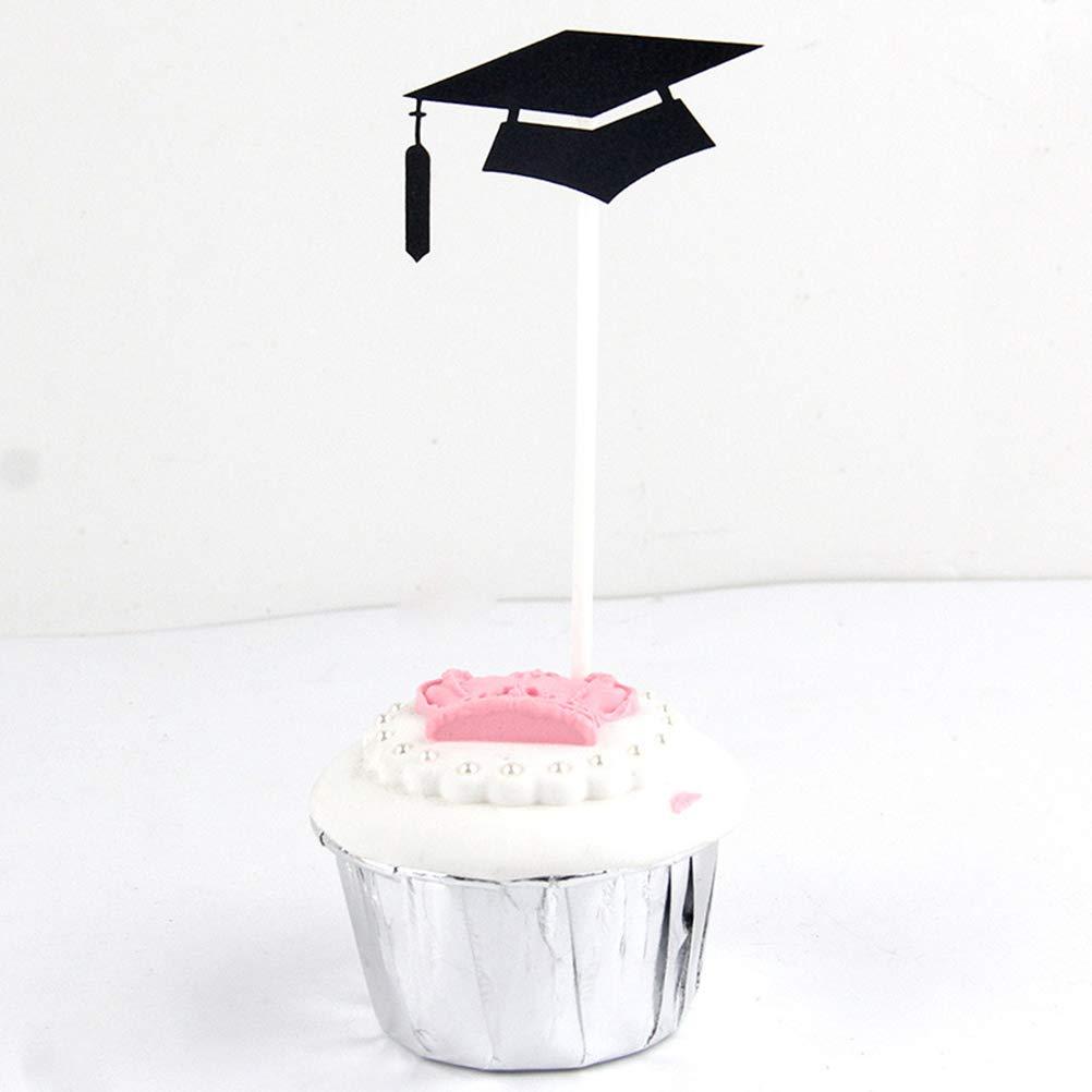 Amosfun 3 unids Graduaci/ón Cake Toppers Fiesta de Graduaci/ón Decoraciones Doctoral Cap Forma Cake Picks Graduaci/ón Photo Props