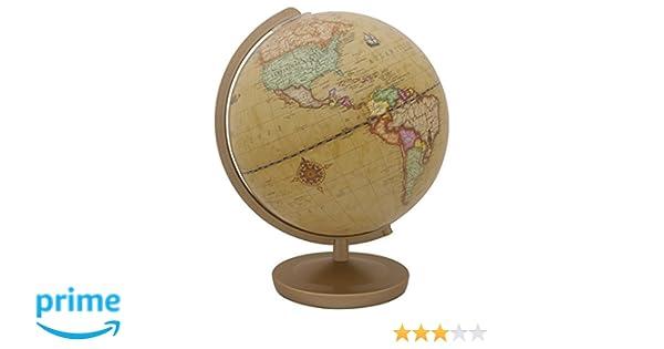 Terra Renaissance 602613Q - Globo iluminado, diametro de 26 cm, color marrón, plástico