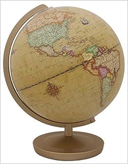 Geschenkverpackung in 4-farb Terra Renaissance Leuchtglobus: 26 cm Durchmesser Kunststofffu/ß dunkelbraun Kunststoffmeridian messingfarben