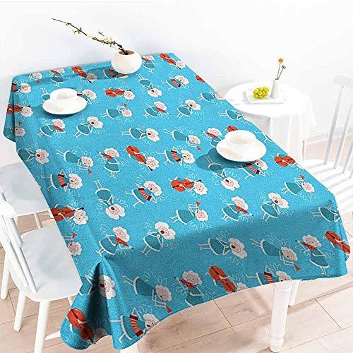 familytaste Angel,Decorative Print Tablecloth Music Angels Playing Violin Flute Kazoo Saxophone Trumpet Elf Harp Cello Fantasy 54