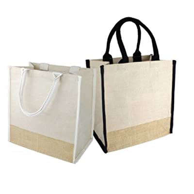 (Pack of 3) Jute Cotton Blend Tote Bags Daily Use Carry-All with Full Gusset