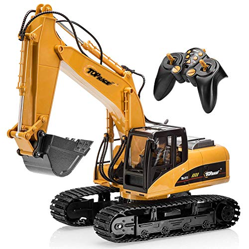 (Top Race 15 Channel Full Functional Remote Control Excavator Construction Tractor, Excavator Toy with 2.4Ghz Transmitter and Metal Shovel - TR 211)