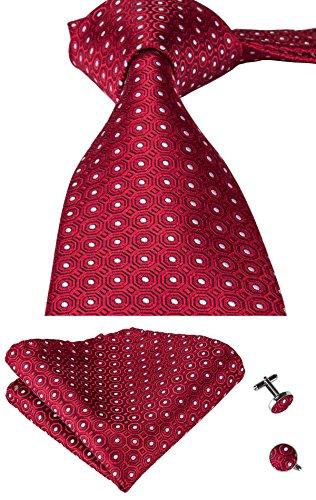 Red Tie Patterned (Hi-Tie Men Red Polka Dots Tie Handkerchief Necktie with Cufflinks and Pocket Square Tie Set)