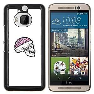 KLONGSHOP // Cubierta de piel con cierre a presión Shell trasero duro de goma Protección Caso - Cráneo rosado del cerebro - HTC One M9Plus M9+ M9 Plus //