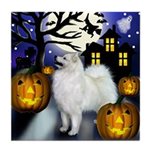 (CafePress - SAMOYED DOG HALLOWEEN Tile Coaster - Tile Coaster, Drink Coaster, Small Trivet)