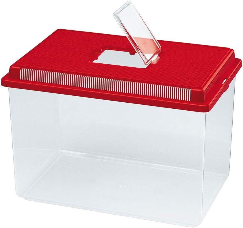 Ferplast Caja de plástico para pequeños Animales Geo Extra Large Acuario de 11 L para Peces, Terrario para Insectos y Tortugas, Plástico, Rejillas de ventilación, 35,6 x 23,4 x h 22,8 cm Rojo