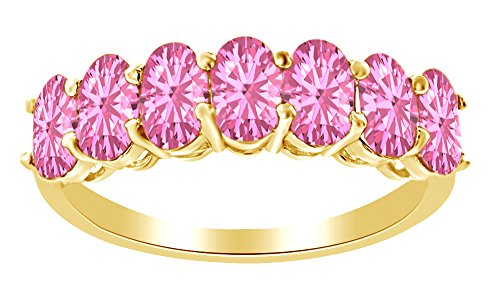 AFFY 1.75 Ct Oval Shape Simulated Pink Tourmaline Half Eternity Band Ring in 14k Yellow Gold Over Sterling Silver Ring Size : 7