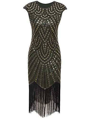 (Vijiv Vintage 1920s Bead Sequin Inspired Art Nouveau Deco Cocktail Flapper Dress,Green)