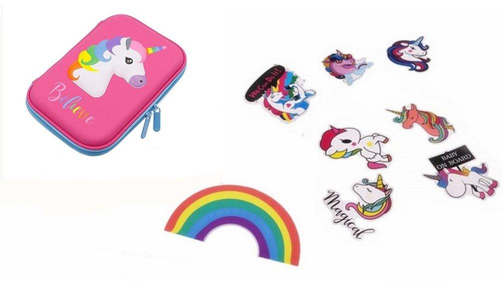 Borang Cute Unicorn School Supplies, Unicorn Stationery, Unicorn Pencil Case, Stickers and Rainbow Eraser(Pink)