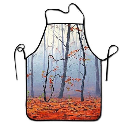 (liubajsdj-Kitchen Chef Apron-Black Border Waist Adjustable Unisex Chef Aprons-Art Nature Trees Autumn Leaves Fog -2 )