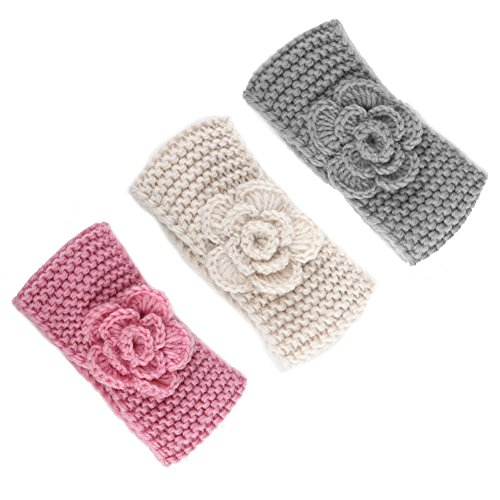Fairoyal 3-Pack Cute Crochet Handmade Kids' Headbands With Flower Keep Ears Warm Knitting Girls'Earmuffs Hair Band For 0-5 Years Old (Combination 5)