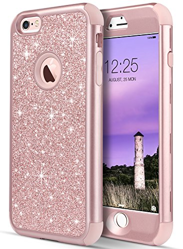 iPhone 6S Case, Case for iPhone 6, UrbanDrama Slim Fit Luxury Glitter Sparkly Case Shock-Absorption Soft Silicone & Hard Back Cover Bumper Full-Body Protective Case for iPhone 6 / 6S - Lemans Cover