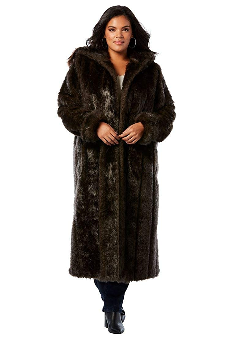Roamans Women's Plus Size Full Length Faux-Fur Coat With Hood