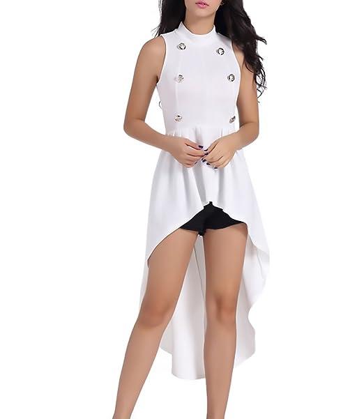HaiDean Vestidos Mujer Verano Elegantes Largos Asimétrica Tallas Grandes Vestido Sin Mangas Color Sólido Modernas Casual