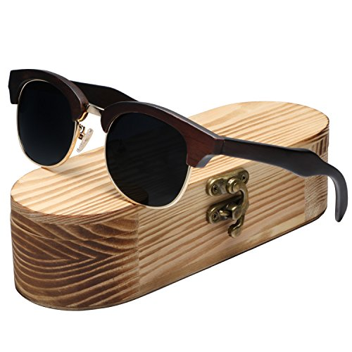 Ablibi Mens Bamboo Wood Polarized Sunglasses Retro Fashion Semi Rimless Style Frame (Ebony Wood, - Cash Back Sunglasses