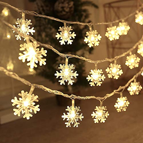 BIMOUR Christmas Lights, Snowflake String Lights 19.6 ft 40 LED Fairy Lights Battery Operated Waterproof for Xmas Garden Patio Bedroom Party Decor Indoor Outdoor Celebration Lighting, Warm White (Snowflake Indoor Christmas Lights)