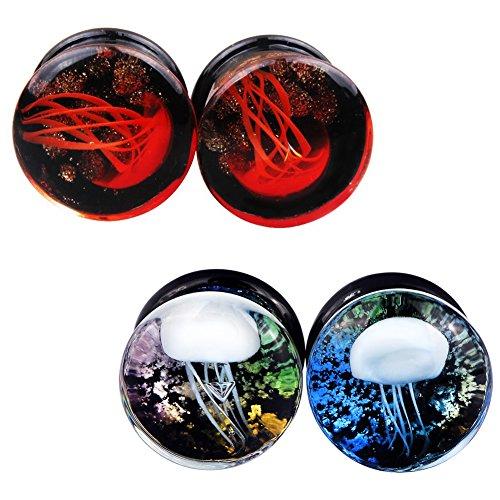 Lianrun 2 Pairs Glass Jellyfish Ocean Ear Plugs Tunnels Unisex Ear Expander Gauge 5/8