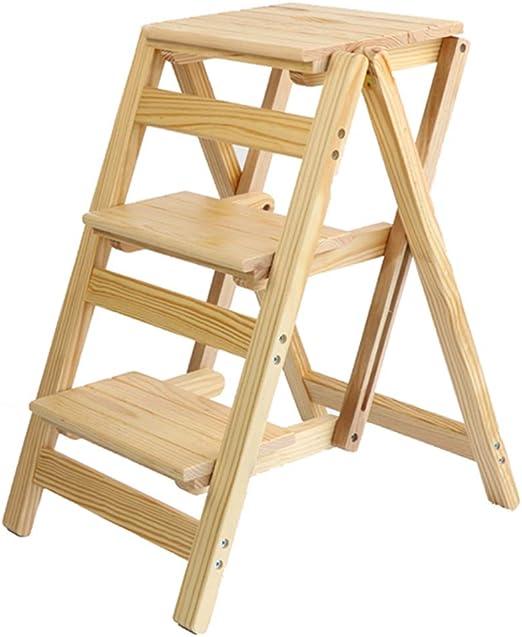 Sarazong Hogar Plegable Escalera escalón Madera Maciza Plegable Stepladder pequeña Escalera Paso Taburete Multiusos Portable Plegable Taburete escaleras,C: Amazon.es: Hogar