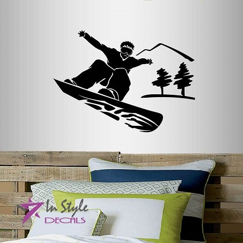 Wall Vinyl Decal Home Decor Art Sticker Silhouette Snowboarding Guy Boy Man Snowboard Mountains Winter Extreme Sports Room Removable Stylish Mural Unique Design For Any Room Creative Design Logo ()