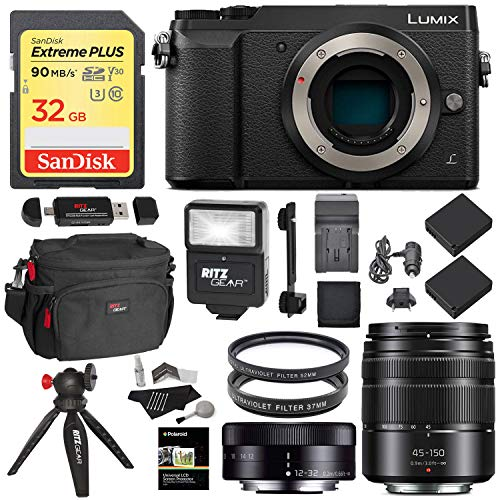 Panasonic GX85 Mirrorless Micro Four Thirds Digital Camera with 12-32mm, 45-150mm Lenses, Sandisk 32GB Card, Tabletop Tripod, Filters, Slave Flash Accessory Bundle