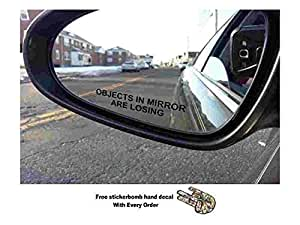 (Pair) Objects in Mirror are Losing Decal BLACK Etched Glass Funny Sticker (package come With stickerbomb hand decal) stickerciti Brand BERRYZILLA