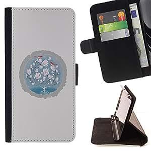 For Samsung Galaxy A5 ( A5000 ) 2014 Version Case , Pájaros de bebé Rosa Gris Invierno- la tarjeta de Crédito Slots PU Funda de cuero Monedero caso cubierta de piel