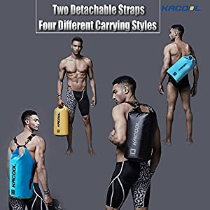 Set of 3 Waterproof Dry Bag by KACOOL - Roll Top Backpack - Detachable Shoulder Strap Dry Sack, Waterproof Waist Pouch & Waterproof Phone Case Submersible for Kayaking Canoeing Rafting Boating Hiking
