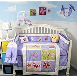 Soho Lavender dancing butterflies Baby Crib Nursery Bedding Set 14 pcs included Diaper Bag with Changing Pad & Bottle Case