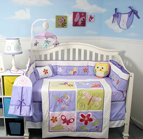 Butterfly Infant Crib Set Sheet - Soho Butterflies Meadows (Lavender) Baby Crib Nursery Bedding Set 14 pcs Included Diaper Bag PLUS: FREE LIGHTWEIGHT BABY CARRIER