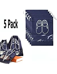 5 Pack Dust Proof Shoe Bags with Drawstring Transparent Window Shoe Organizer Shoe Storage