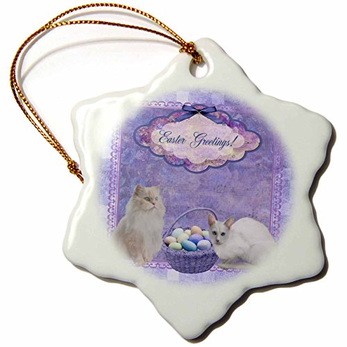 3dRose Beverly Turner Easter Design and Photography - Kitty Cats with Easter Basket of Eggs on Musical Sheet Background, Purple - 3 inch Snowflake Porcelain Ornament ()