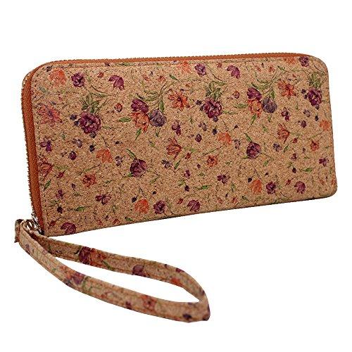 Boshiho Cork Wallet Zipper Around Cell Phone Clutch Purse for iPhone X 8 7 6 6s Plus 5 5s Samsung Vegan Gift (Flower Pattern)