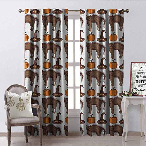 GloriaJohnson Halloween Shading Insulated Curtain Seasonal Vintage Pattern with Pumpkin Squash Witch Hats and Cat Figures Soundproof Shade W42 x L63 Inch Brown Orange Green -