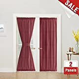 Privacy French Door Panel Curtains 72 inch Length Faux Silk French Door Curtain Panels Satin French Door Panels Burgundy Red, 2 Panels, Tiebacks Included
