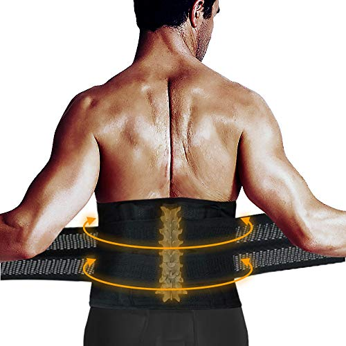 (Lumbar Brace, Lower Back Brace, LEMBO DIRECT Lumbar Back Support Belt for Men & Women - Compression Belt Adjustable Straps Waist Trainer with Breathable Mesh for Back Waist Pain Relief (29-37″))