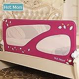 Hot Mom - barandillas de la cama 150 cm para bebés, portátil y estable, barrera de seguridad,color rosa