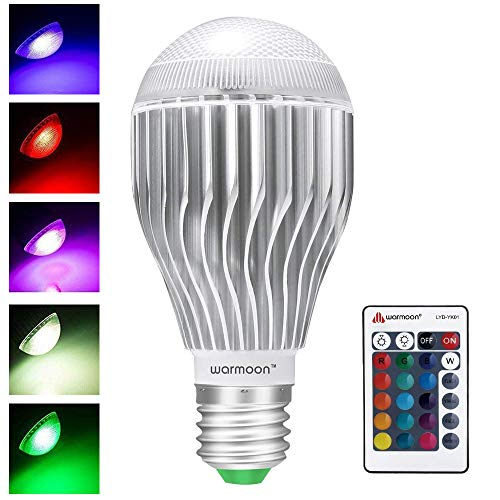 Warmoon LED Light Bulbs E27 10W Color Changing Lighting E26 Dimmable RGB Colorful Lamp for Holiday, Atmosphere, Bar, Home Decor