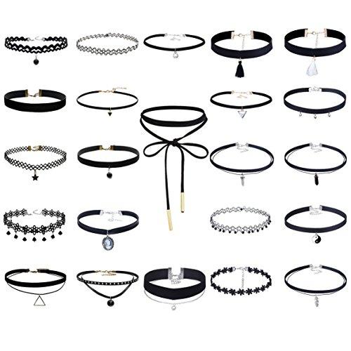 Tpocean 23 PCS Handmade Classic Elastic Lace Tattoo Choker Necklace Set Adjustable Black Gothic Velvet Collars for Women