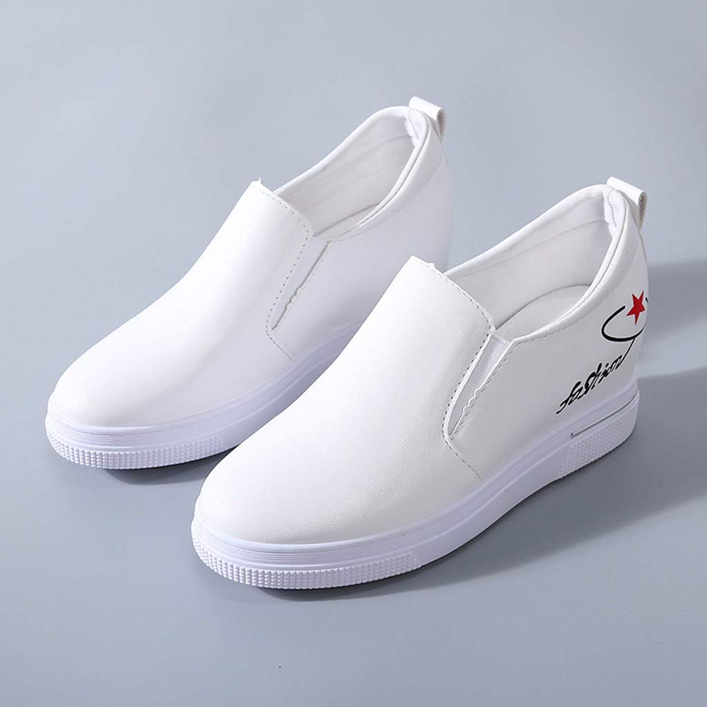 2019 New Women's Shoes, Claystyle Pu Solid Color Straps Casual Sports Shoes Thick Bottom Invisible Heightening Shoes White by Claystyle Shoes (Image #6)