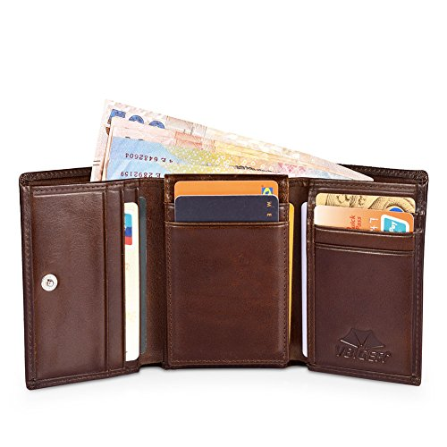 Wallet Blocking Credit Men 2 I BOXED Brown Leather Slots with for GIFT Window Vbiger Card RFID D q4S1US