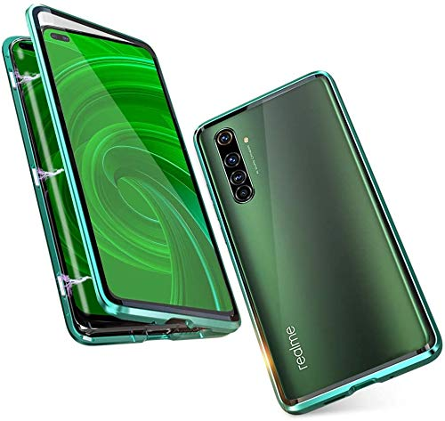 HaptiCase Case for Realme 5 Pro Magnetic Cover,Magnetic Adsorption Technology 9H Front and Back Tempered Glass Cover 360…