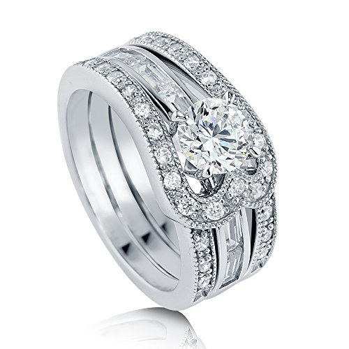 BERRICLE Rhodium Plated Sterling Silver Round Cubic Zirconia CZ Statement Solitaire Engagement Wedding Ring Set 2.09 CTW Size - Plated Silver Sterling Baguette
