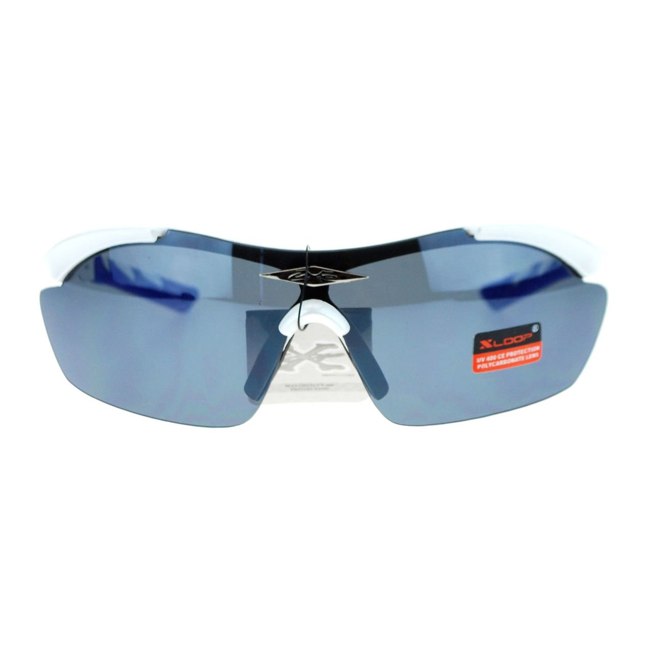 Xloop Sports Sunglasses Half Rim Rubber Nose//Temple Wrap Around UV 400