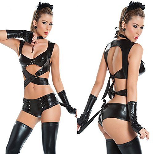 ThinkMax Women Adult Female Cat Costumes Rivet Sexy Tops + Shorts + Neck Ring + 2pcs Gloves Night Club Role Play (Patent Troll Costume)