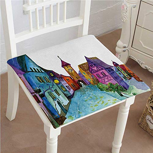 European Classic Recliner - Classic Decorative Chair pad Seat European Scenery with Pastel Colored House Lights and Road and Church Image Multicolor Cushion with Memory Filling 16