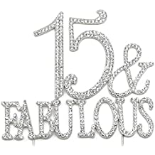 15 and Fabulous - 15th Birthday Quinceanera Cake Topper, Crystal Rhinestone...