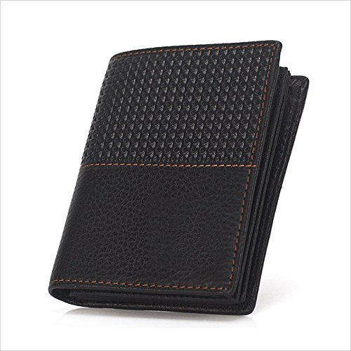 Embossed Leather Shorts - Canyixiu Men's Vertical Leather Short Wallet Vintage Cowhide Embossed Purse (Color : Black)